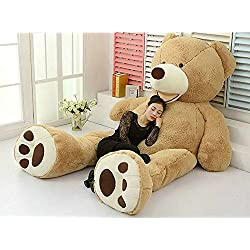 """78""""(6.5 Feet) Giant Teddy Bear Cover Light Brown ( Semi-Finished, No Filler Cotton, Shell with Zipper ) 200cm"""