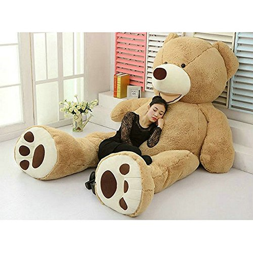 7865-feet-giant-teddy-bear-cover-light-brown-semi-finished-no-filler-cotton-shell-with-zipper-200cm