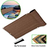 Eden's Decor Balcony Privacy Screen Cover Mesh Windscreen Weather-Resistant UV Protection for Backyard Deck, Patio, Balcony, Pool, Porch, Fence, Railing, Gardening (Brown,3'x 15')