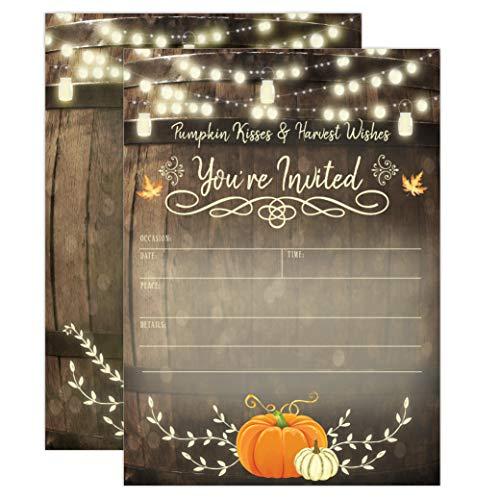 Halloween Engagement Party Invitations (Rustic Fall Baby Shower Invitations, Fall Bridal Shower Invitations, Engagement Party, Autumn Fall Leaves Invite, Little Pumpkin, 20 Fill in Style with)