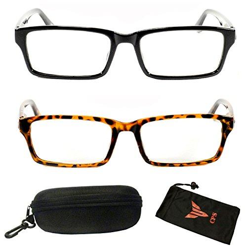 (#FR6122) Get 2 PAIRS Men & Women Unisex Black Tortoise Frame Squared Rectangular Shape Retro Style Fashion Reading Glasses Readers + FREE Hard Case (Strength: - Frames Black Tortoise Or