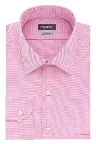 Van Heusen Men's Regular Fit Micro Houndstooth Spread Collar Dress Shirt, Petal 16.5