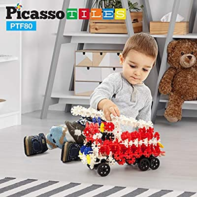 PicassoTiles Building Flakes 800 Pieces Interlocking Construction Blocks with 10 Wheels Creative Disc STEM Block Toy Set Learning Toys for Early Child Brain Development Kids Boys Girls Age 3 and Up: Toys & Games
