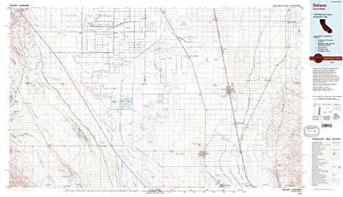 Delano Ca Topo Map  1 100000 Scale  30 X 60 Minute  Historical  1993  Updated 1993  24 1 X 41 9 In   Tyvek