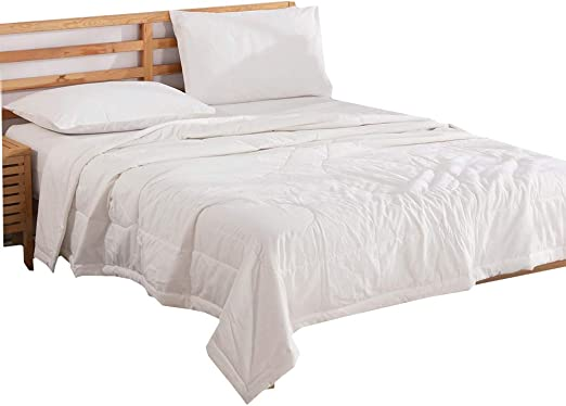 NTCOCO 3 Piece Comforter Set Thin Quilt SummerLightweight Comforter,100% Washed Cotton,Machine Washable,Soft Comfy Breathable Can Sleep Naked (White, Queen)