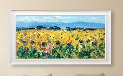 Tuscan Landscape Wall Art Sunflowers Field Painting Oil on Canvas Hand Painted Large Artwork Modern Picture for Living Room Home Decor Stretched Framed (Tuscan Palette)