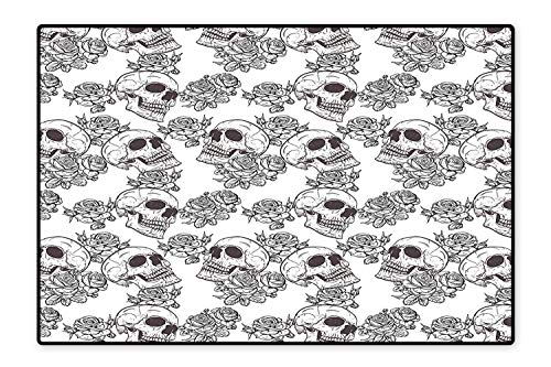 Indoor/Outdoor Rug Blooms Retro Otherworld Textured Western Celtic Halloween Horror Image Black White Easy Clean Resistant 5'8