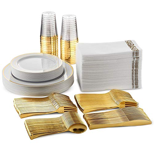 FineDining Gold Plastic Silverware Set - Premium Quality Disposable Utensils - 120 Pieces - 20 Forks, 20 Spoons, 20 Knives, 20 Cups, 20 Dinner Plates, 20 Salad Plates - Heavyweight Plastic Dinnerware