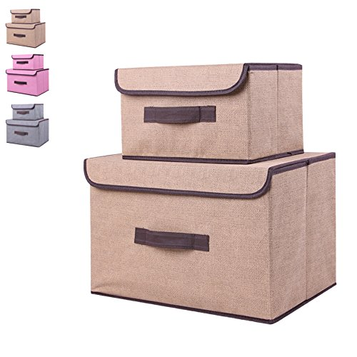 Storage bin with lid, storage bins with lids storage box with lid (2 pack),set of two foldable storage bins, collapsible , storage cubes bins baskets, bedroom toys clothes office kid room non-woven by M&S