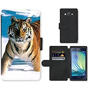 PU Cuir Flip Etui Portefeuille Coque Case Cover véritable Leather Housse Couvrir Couverture Fermeture Magnetique Silicone Support Carte Slots Protection Shell // V00000768 Patrón de piel animal tigre // Samsung Galaxy A3 SM-A300 (not fit S3)