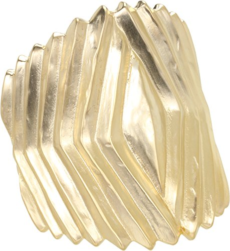Kenneth Jay Lane Satin Gold Ribbed Hinged Cuff Bracelet