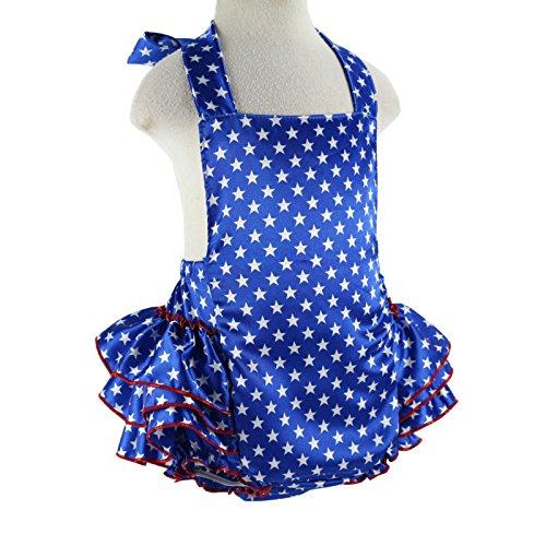 (Wennikids Baby Girl's Summer Dress Clothing Ruffle Baby Romper Small July 4 Blue Star)