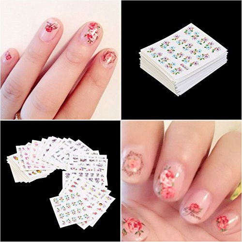XICHEN 50 pieces of watermark nail decals Mixed Flower Cartoon DIY Nails Tips Sticker