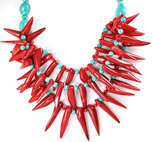 Multi-strands Red Coral Chili Beads & Blue Magnestie Turquoise Silver Tone Necklace 19