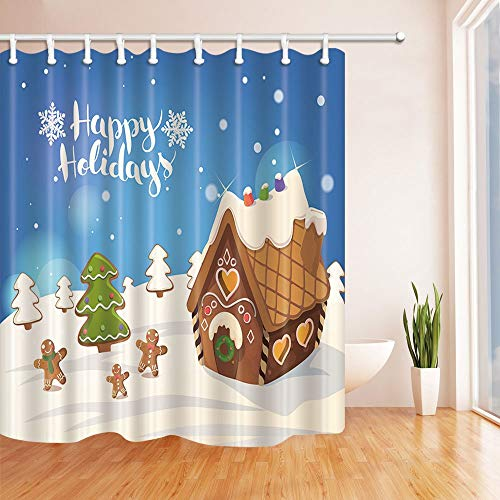 Nyngei 3D Digital Printing Winter Snow Decor Cristmas Background with Gingerbread House Shower Curtains Polyester Fabric Waterproof Bath Curtain 70.8X70.8in