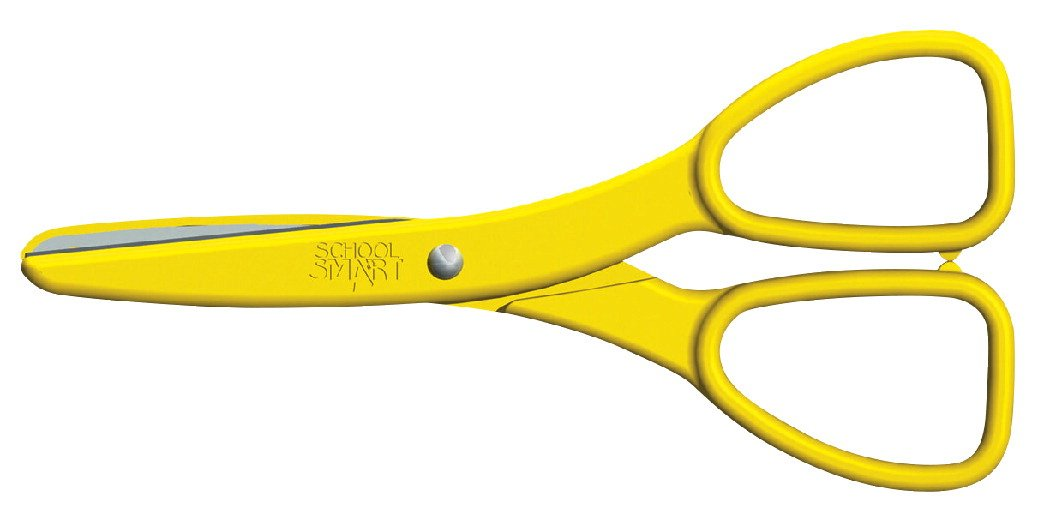 School Smart Blunt Tip Ambidextrous Plastic Covered Safety Scissors - Pack of 24 - Yellow