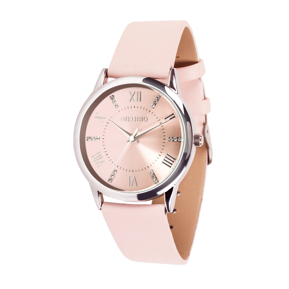 AIKURIO Women Ladies Wrist Watch Waterproof Quartz Watch with Crystal Dial Clock Leather for Female Luxury Fashion Business Classic (Pink) by AIKURIO (Image #1)