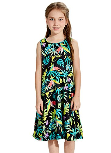 Holiday Funnycokid Printed Sleeveless 4 Leaves Dress Floral 2 Size Neck Round 13 Girls RRwarY6