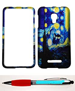 Accessory Factory(TM) Bundle (the item, 2in1 Stylus Point Pen) For Alcatel One Touch Fierce 7024T (T-Mobile) Snap On Rubberized Design Hard Case Cover Protector Doctor Who Tardis Public Call Police Box Starry Night