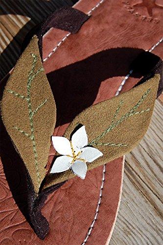 Größe 36 Leder Grün in Damen Zehentrenner Zehensandale Zehensteg Sandalen SEESTERN 44 qT0Cw8n
