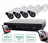 GOWE 4 Channel HDMI DVR 500 GB HDD 4 900TVL IR Security Camera 24 LEDs Home Security System Surveillance Kits 4CH CCTV System