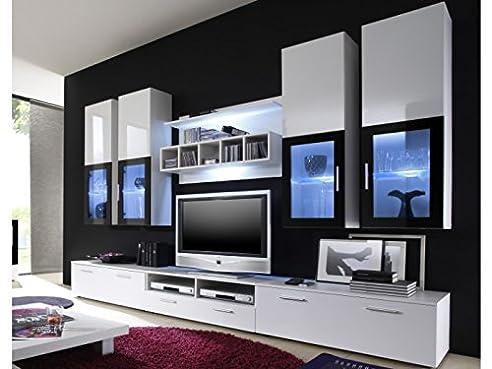 Moderne Wohnwand Vitrine Anbauwand Wohnzimmer Möbel Weiß: Amazon