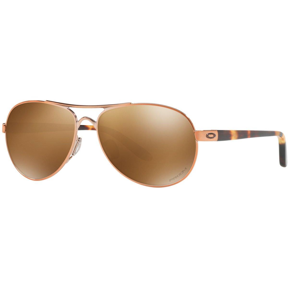 Oakley Women's OO4108 Tie Breaker Aviator Metal Sunglasses, Rose Gold/Prizm Tungsten Polarized, 56 mm by Oakley
