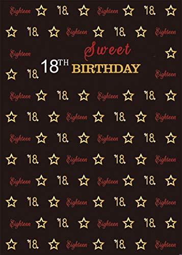 DANIU Sweet 18th Birthday Party Photography Backdrops Black and Red Carpet Affair Themed Birthday Banner Decora Fabric Background Photo Studio Props 5x7ft -