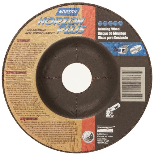 Norton Norzon Plus Depressed Center Abrasive Wheel, Type 27, Zirconia Alumina, 7/8