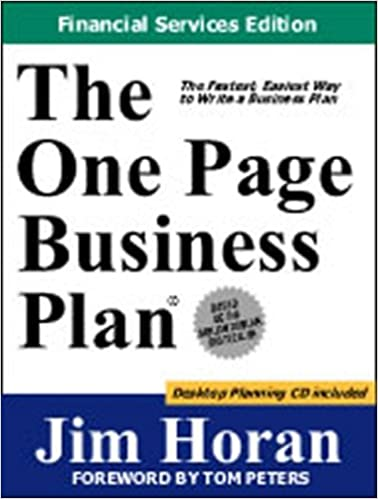 amazoncom the one page business plan financial services edition 9781891315053 jim horan books