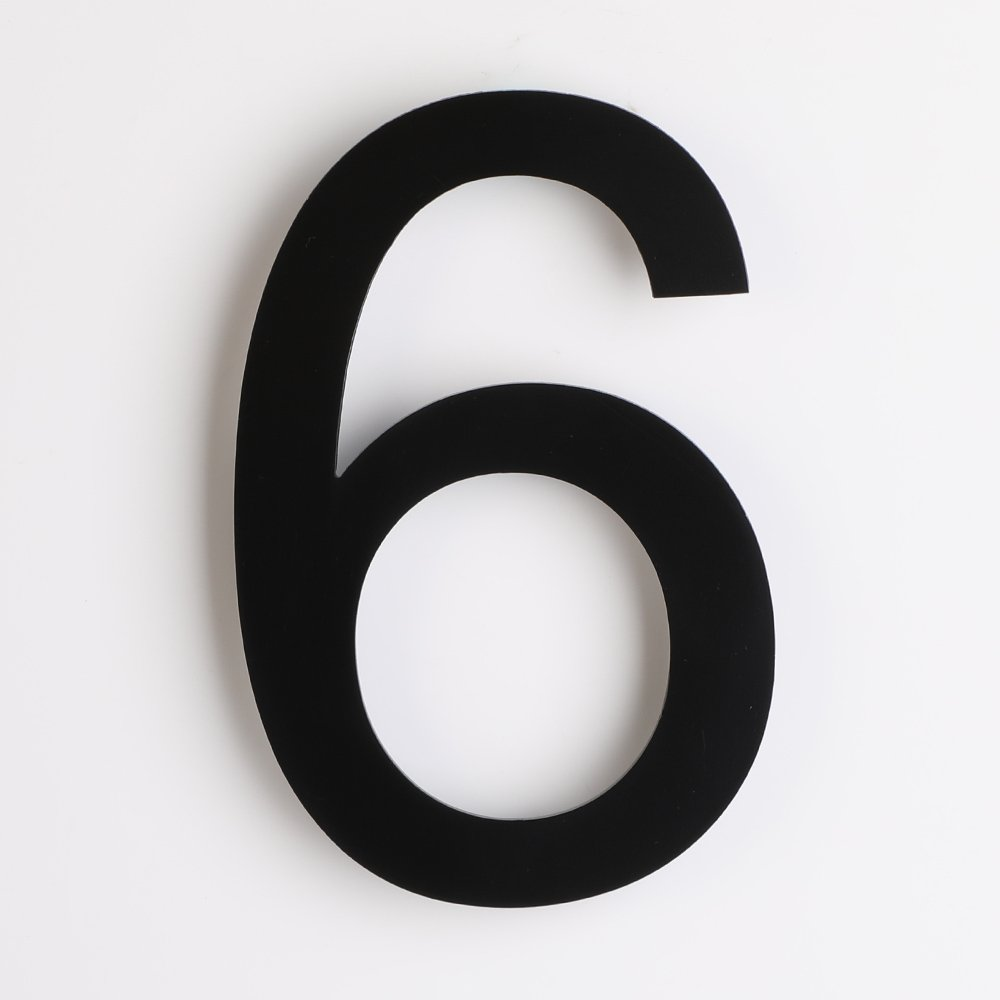 Mellewell Modern House & Door Number Stand-Out Numerals 5 inch Stainless Steel Black, Number 6 Six, HN05HB-6