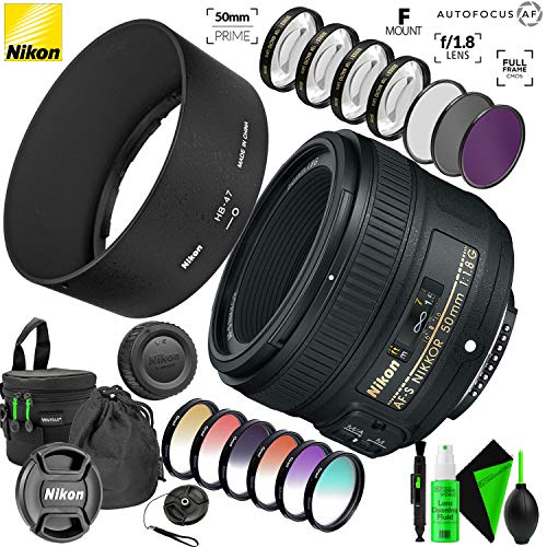 Nikon AF-S NIKKOR 50mm f/1.8G Lens with Accessory Kit with Creative Filter Kit and Pro Cleaning Accessories (Nikon 35mm 1-8 G Or 50mm 1-8 G)
