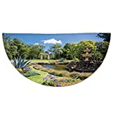 Half Round Door Mat Entrance Rug Floor Mats,Country Decor,Fitzroy Gardens Summer Day View Fountain Historical Iconic Tourist Attraction,Garage Entry Carpet Decor for House Patio Grass Water