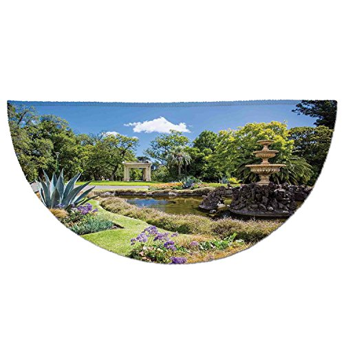 Half Round Door Mat Entrance Rug Floor Mats,Country Decor,Fitzroy Gardens Summer Day View Fountain Historical Iconic Tourist Attraction,Garage Entry Carpet Decor for House Patio Grass Water by iPrint