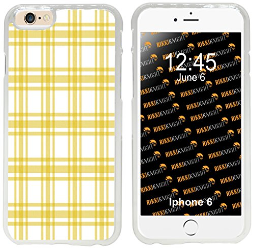 Apple Yellow Plaid (Rikki Knight Yellow and White Plaid Design iPhone 6 Case Cover-Clear)