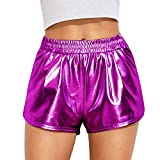 MAKARTHY Womens Yoga Hot Shorts Shiny Metallic Pants Rave Booty Dance Purple-S