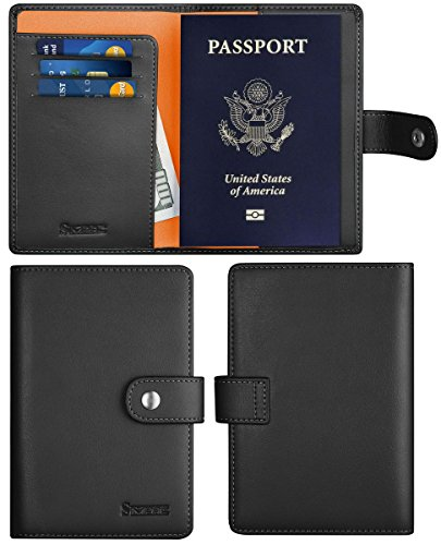 SimpacX Leather Passport Holder Wallet Cover Case Travel Wallet RFID Blocking 12 Contract Colors (Black)