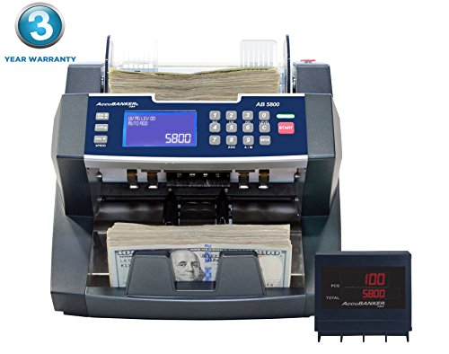 AccuBANKER Bank Grade Batch Value Bill Counter AB5800 Money Counter Machine with Total Value Per Denomination Hopper Capacity 300 Bills & Counterfeit Detector MG + UV (AB5800)