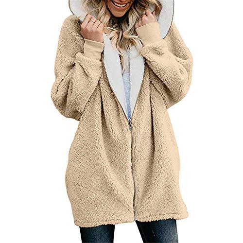 0003 Apricot - Women Winter Warm Faux Shearling Shaggy Hoodie Jack Coat Casual Plus Size Outwear Apricot