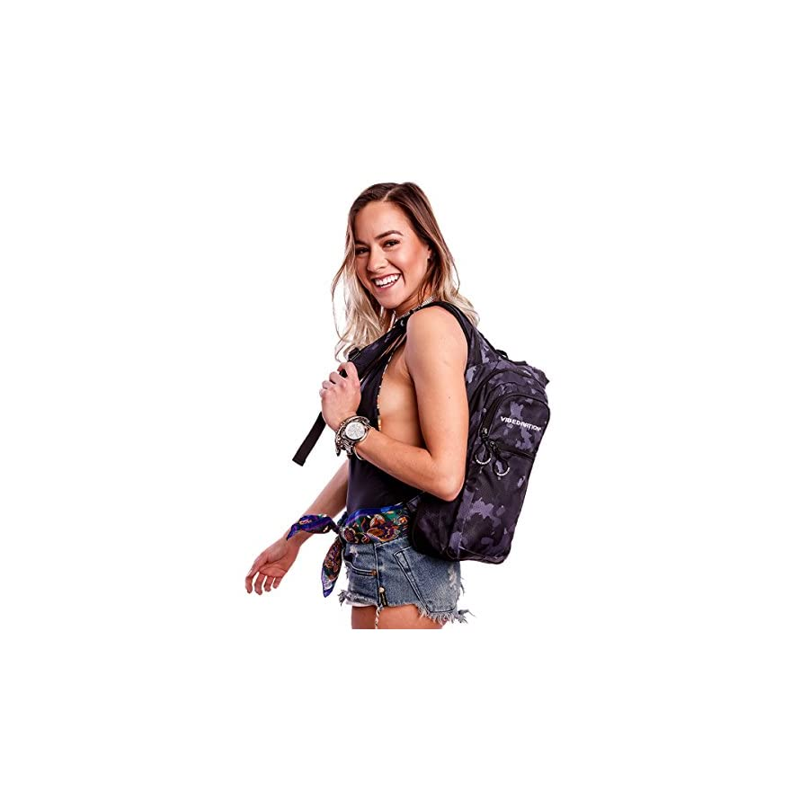 Vibedration Festival Hydration Pack | 2L Water Capacity | Perfect for Raves, Hiking & Camping