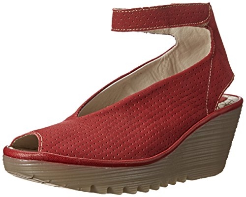 Fly London Women's Yala Perf Wedge Pump, Cordoba Red, 37 ...