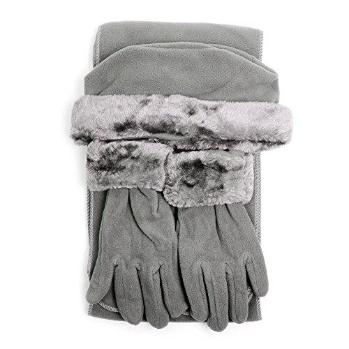 Cloche Fur Trim 3 Piece Fleece Hat, Scarf & Glove Women's Winter Set, Charcoal - Fur Trim Scarf