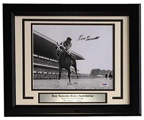 Ron Turcotte Signed Framed 8x10 Secretariat Horse Racing B&W Photo PSA - Ron Turcotte Horse