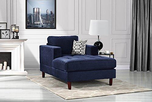 (DIVANO ROMA FURNITURE Mid Century Modern Velvet Fabric Living Room Chaise Lounge (Navy))
