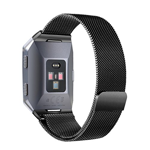 bayite For Fitbit Ionic Bands, Stainless Steel Milanese Loop Metal Replacement Strap with Unique Magnet Lock Accessories for Fitbit Ionic Small Silver + Black by bayite (Image #6)