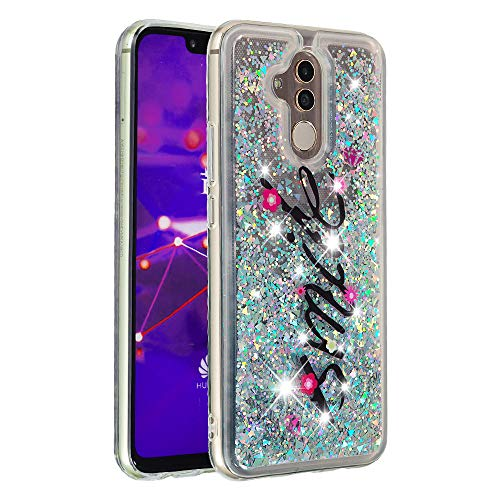 YWXTW Compatible with Mate 20 Lite Case Glitter, Cute Case for Mate 20 Lite, Bling Flowing Sparkle Quicksand Waterfall Clear Bumper Shockproof Soft TPU Luxury Case for Huawei Mate 20 Lite (Smile)