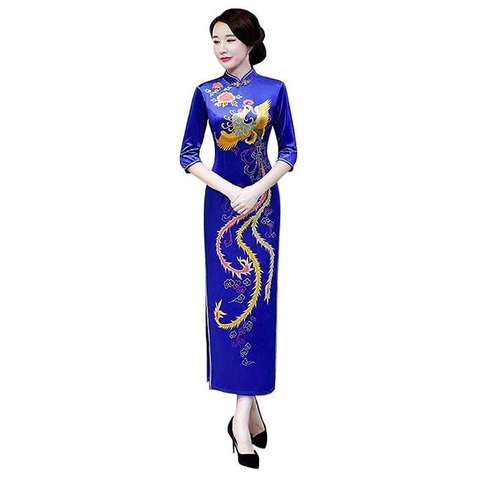 ca10716bf Hzjundasi Cheongsam de Las Mujeres - Qipao Vestido de Novia Chino ...