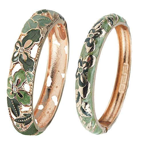 Rhinestone Bangle Green - UJOY Vintage Jewelry Cloisonne Handcrafted Enameled Butterfly Gorgeous Rhinestone Gold Hinged Cuff Bracelet Bangles Gifts 88A09 Green