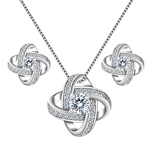 Set Sterling Silver Bag (EleQueen 925 Sterling Silver Cubic Zirconia Flower Bud Bridal Pendant Necklace Stud Earrings Jewlery Set)