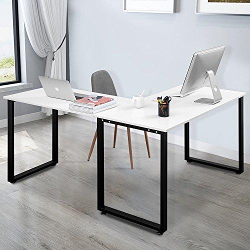 Merax L Shaped Office Workstation Computer Desk Corner Desk Home Office  Wood Laptop Table Study Desk (White) (WF009)